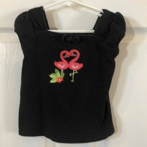 Gymboree black t-shirt with pink swans 4T